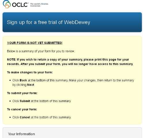 Daftar OCLC - WebDewey Perinagatan Submit