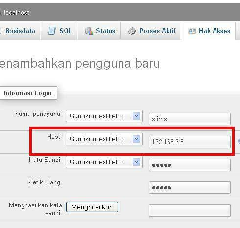 Senayan SLiMS - Buat User Database. Perhatikan HOST isilah dengan nomer IP