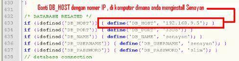 Senayan SLiMS - Ubah DBHOST dengan IP