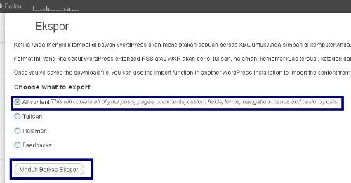Wordpress - Mengekspor semua konten dalam WordPress termasuk posting, komentar,tag, kategori,dll