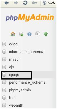 OJS - Pilih database di PHPmyAdmin di localhost