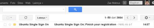 Ubuntu One - Buka GMail - Email dari Kode Konfirmasi Ubuntu One