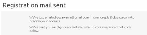 Ubuntu One - segera buka email dan cek kode konfirmasi dari Ubuntu One