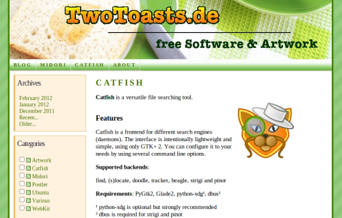 Catfish - Webresmi Catfish http://software.twotoasts.de/index.php?/pages/catfish_summary.html
