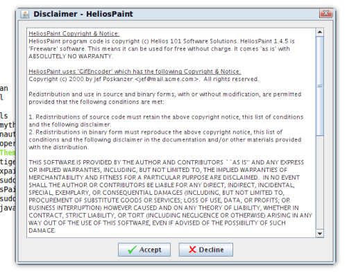 Helios - Disclaimer Helios Paint Free Software