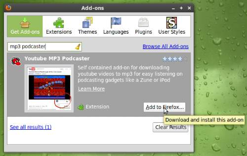 Linux - Download Youtube Pakai Addons Youtube MP3 Podcaster