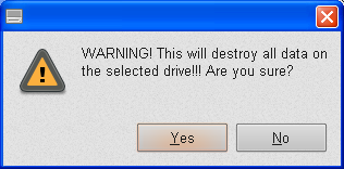 Live USB Install - Format Flasdis - Warning