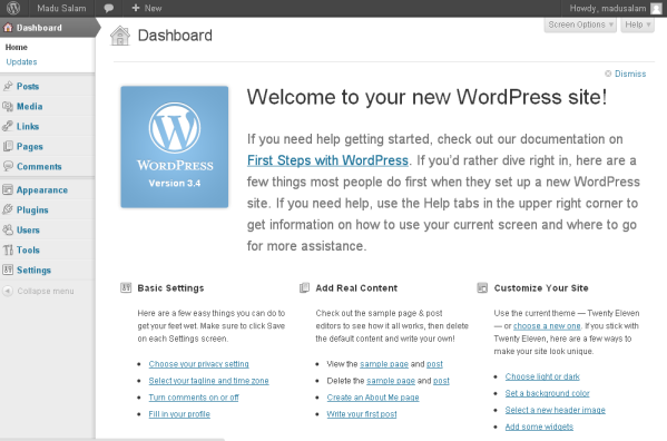 dashboar WordPress