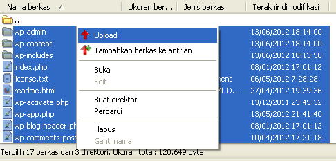Klik Kanan Semua Isi File Wordpres - Upload