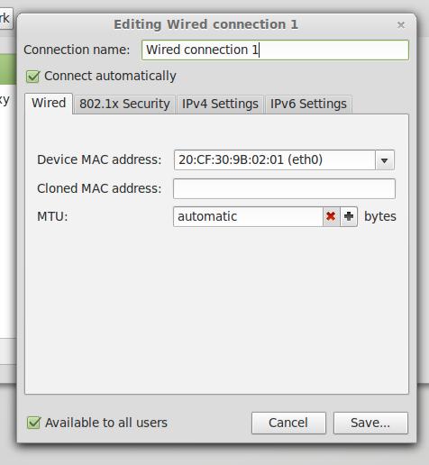 Pilih Device MAC address nya , Pada MTU pilih otomatis