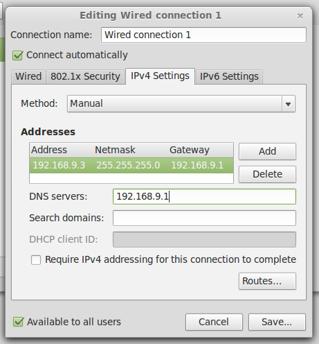 Seting IP Linux
