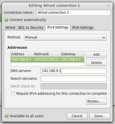 Seting IP Linux