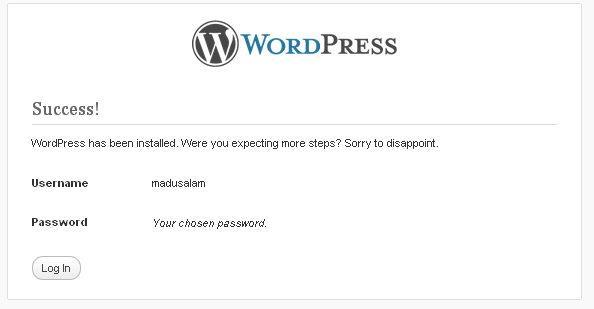 Succses Install WordPress